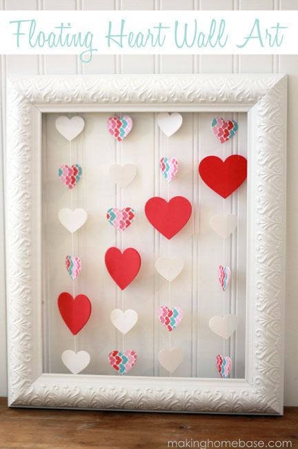 DIY Valentine's Gift - Floating Heart Wall Art