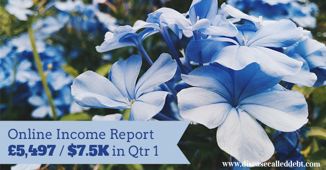 Online Income Report Qtr 1 from Disease Called Debt - making money online